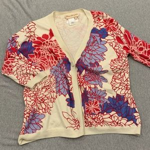 Norm Thompson red and blue floral cardigan